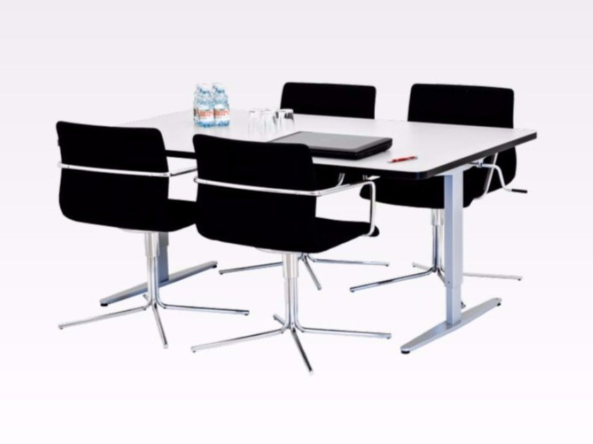 Height-adjustable meeting table ERGO GROUP TABLE by Ropox