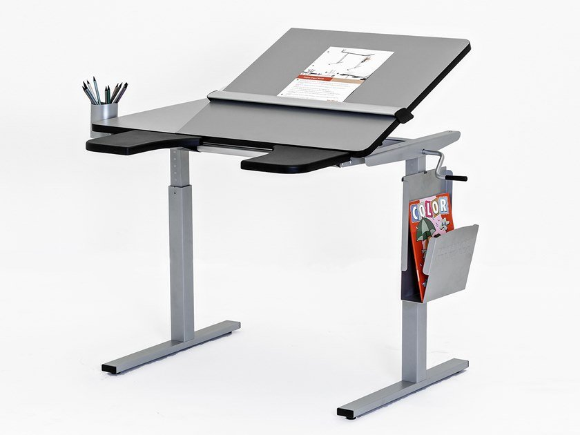 Height-adjustable rectangular HPL Kids writing desk ERGO by Ropox