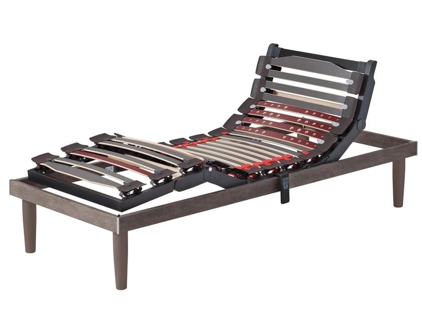 Slatted electric wooden bed base with flex slat holders ERGOMOVIE by Manifattura Falomo