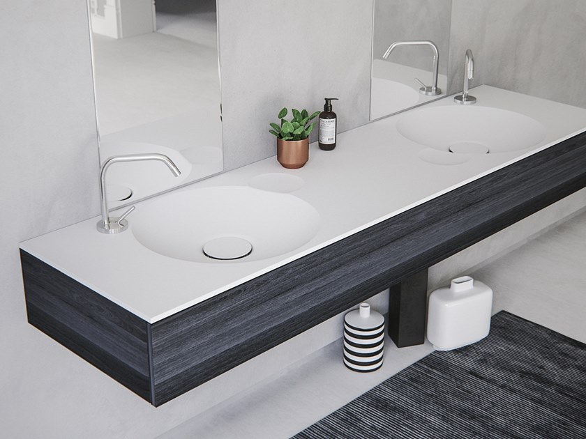 Double round washbasin with integrated countertop EROSION-02 DUAL by Le Projet