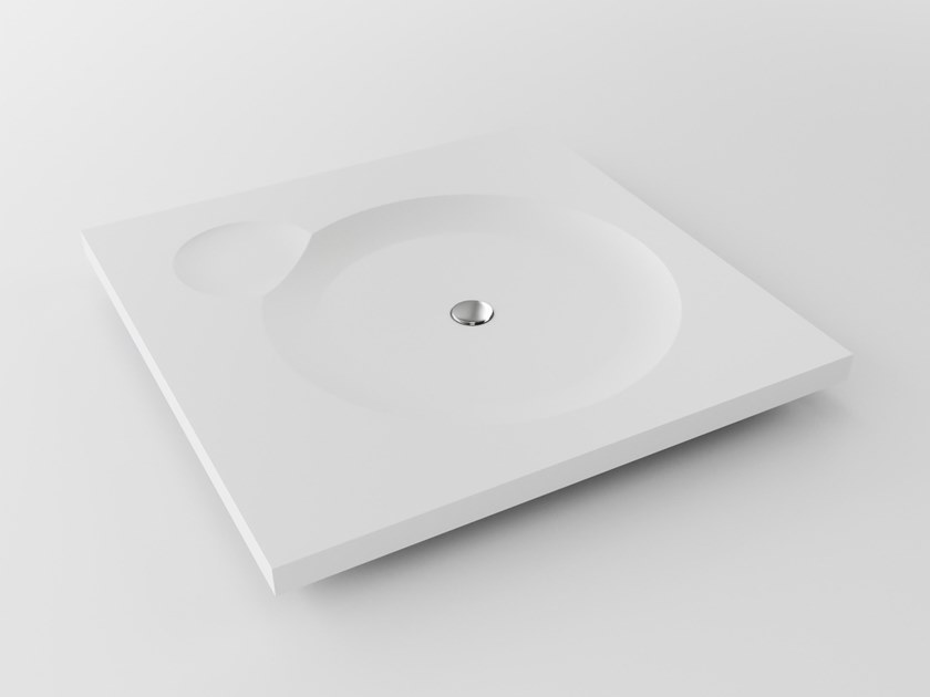 Square Meridian Solid Surface® shower tray EROSION-SH01 by Le Projet