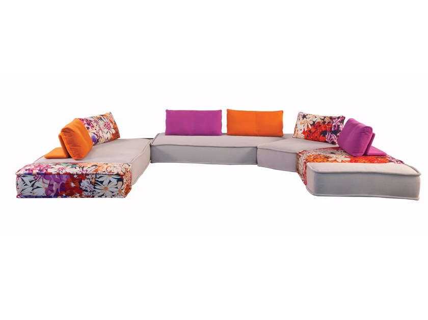Sectional modular fabric sofa MAH JONG - KENZO TAKADA By ROCHE ...