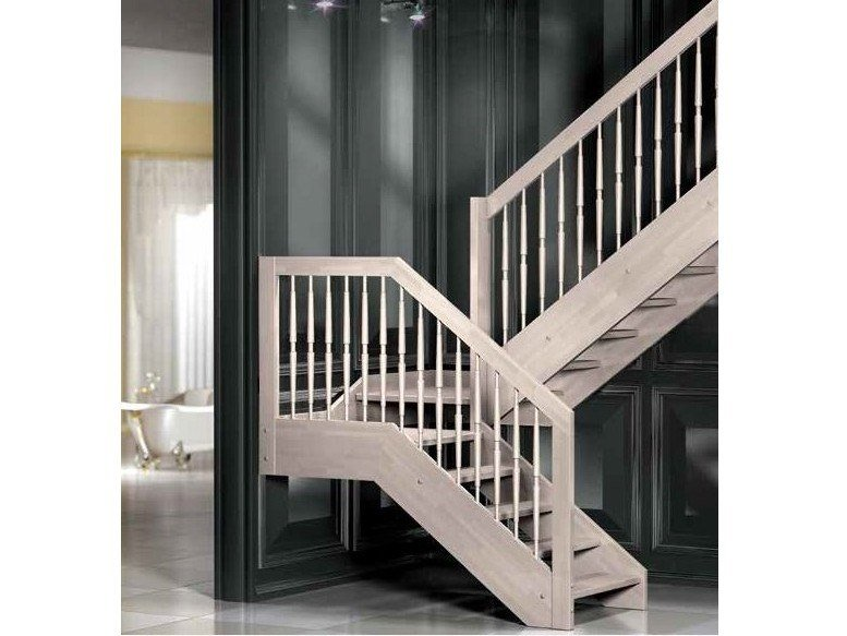 Wooden Open staircase with lateral stringers ESPERIA NOVECENTO by MOBIROLO