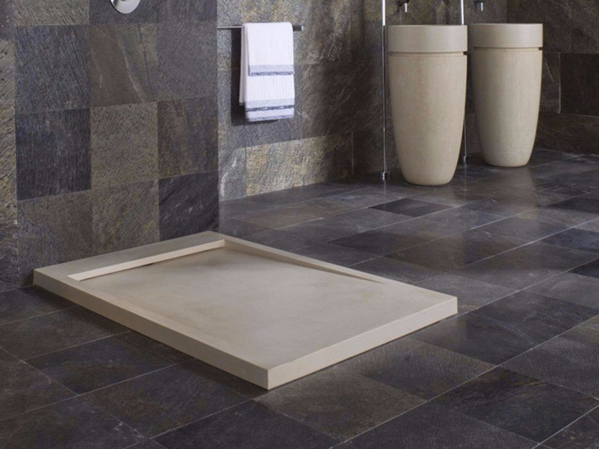 Natural stone shower trays replace metal electrical box with plastic