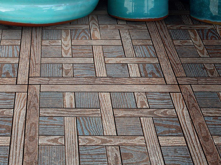 Marble flooring with wood effect ESSENCE - QUADROTTA 5 by Lithos Mosaico Italia