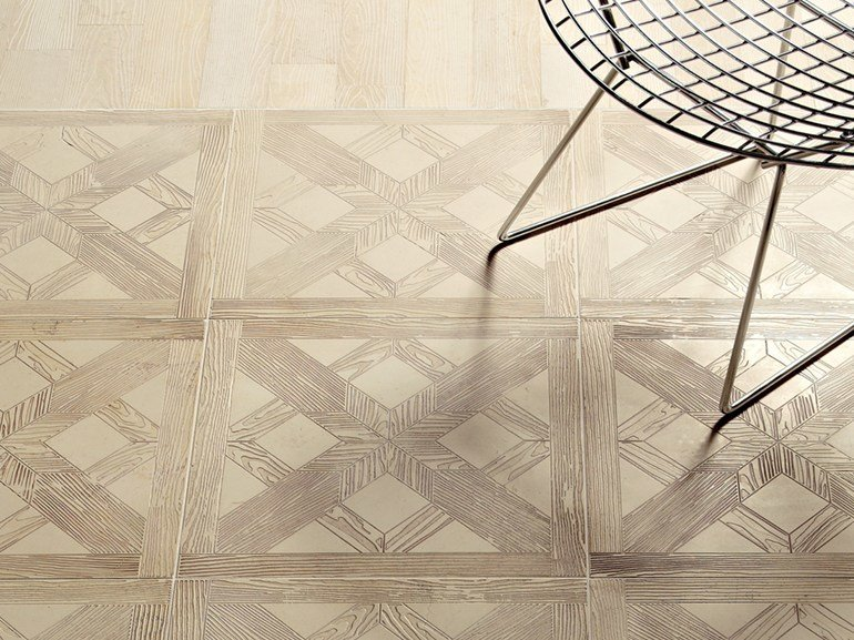 Marble flooring with wood effect ESSENCE - QUADROTTA TILE 457 by Lithos Mosaico Italia