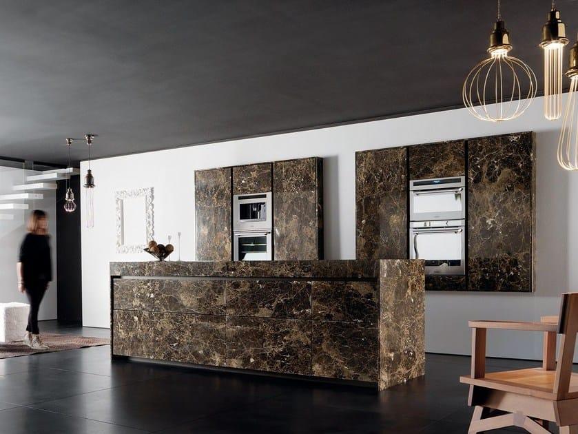 Marble kitchen with island ESSENTIAL EMPERADOR DARK By TONCELLI CUCINE