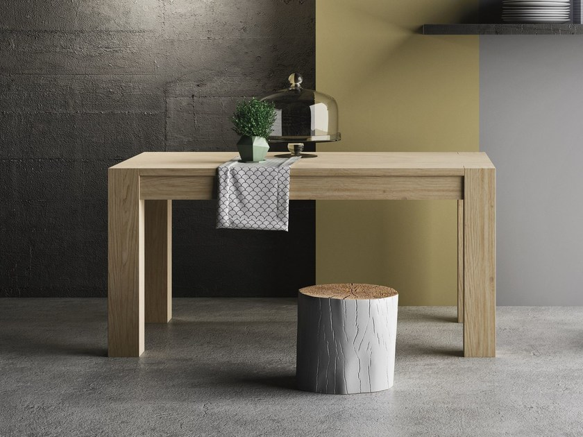 Extending rectangular oak contract table ESSENZA by Imperial Line