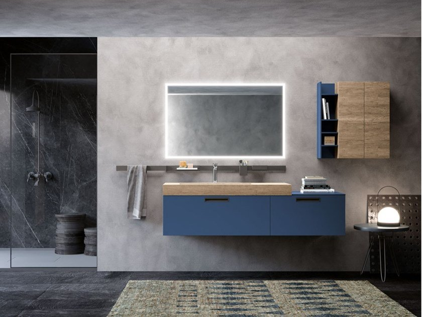 Wall-mounted vanity unit with drawers ESSENZE 01 by Archeda