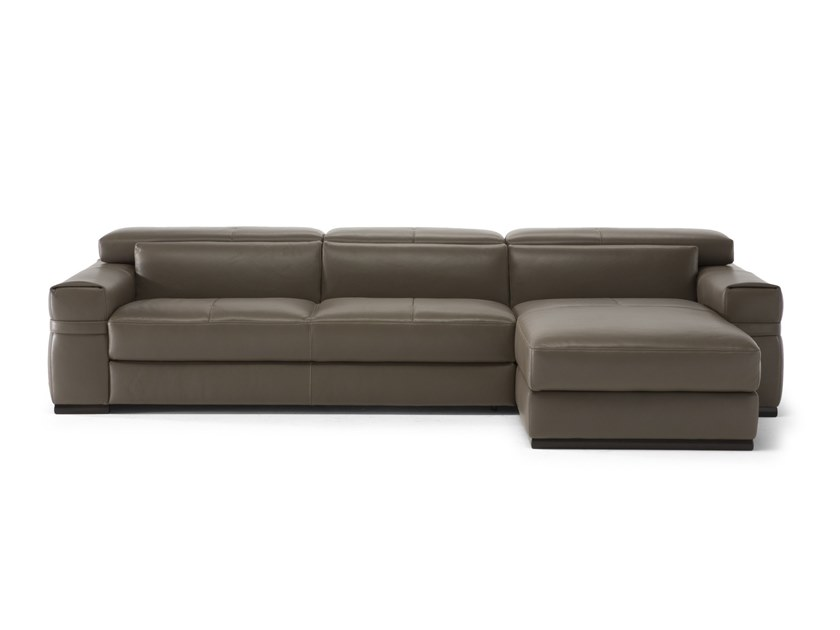 Leather sofa with chaise longue