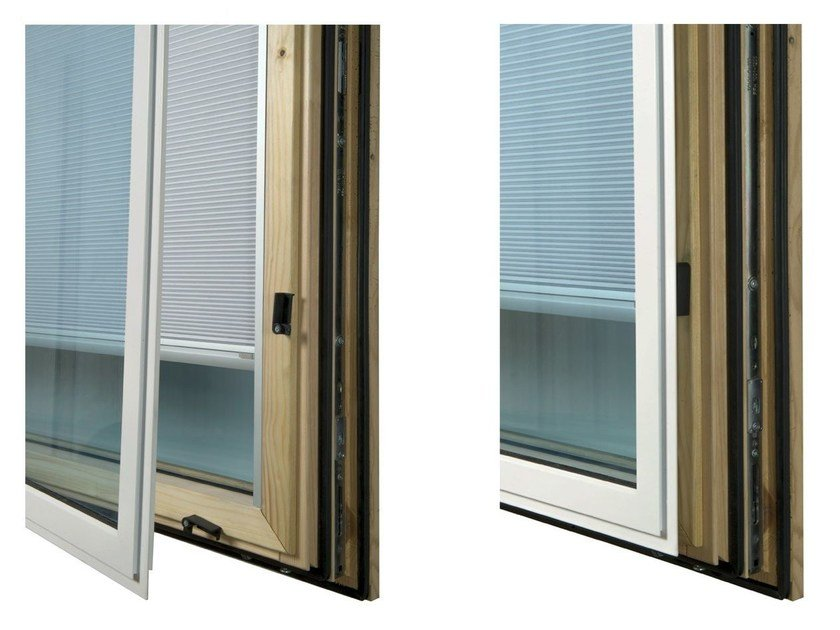 Aluminium and wood window with built-in blinds ETERNITY GOLD by Alpilegno