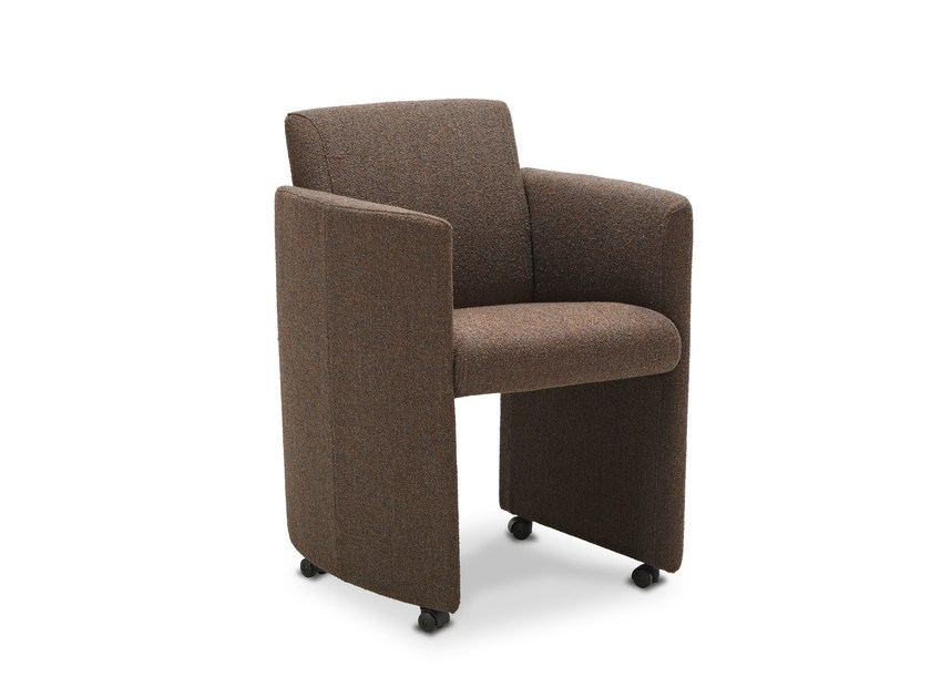 Upholstered chair with armrests with casters ETERNITY by JORI