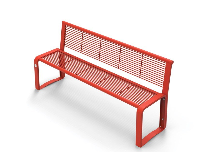 Galvanized steel Bench with back ETHOS | Bench with back by City Design