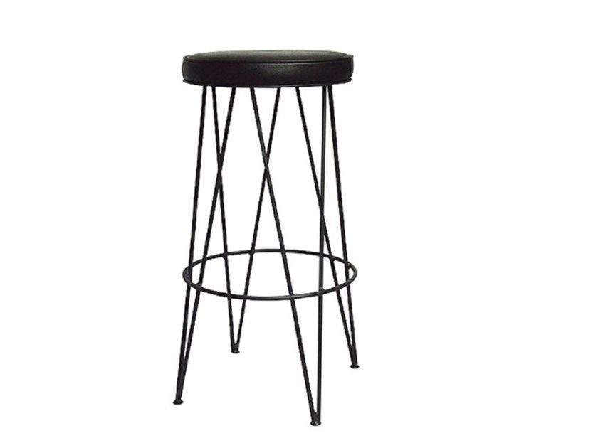 Leather stool with footrest ETNICK by Conceito Casa