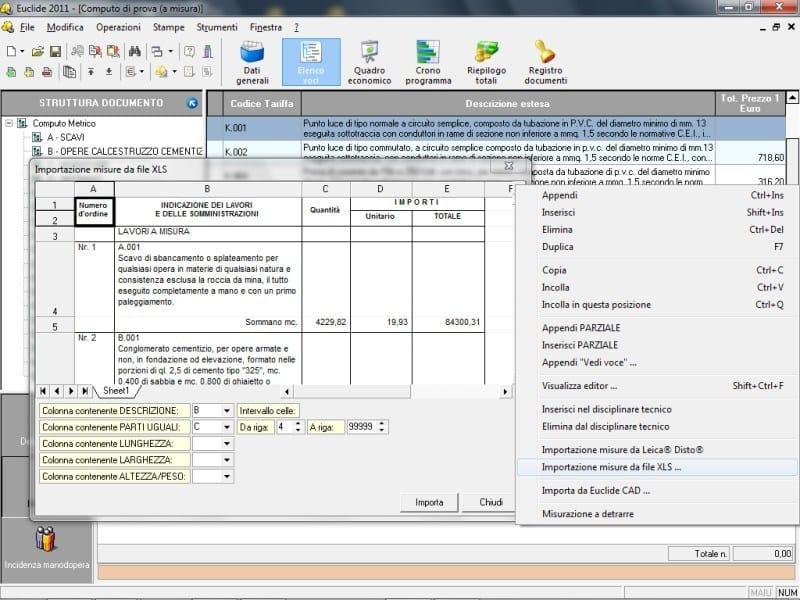 EUCLIDE COMPUTO LT Importazione misure da file XLS