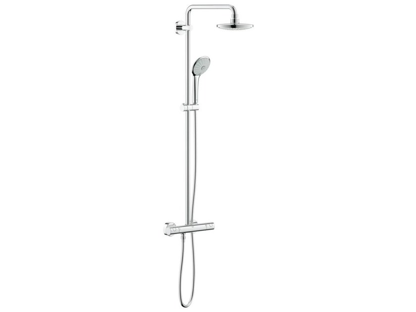 Wall-mounted thermostatic shower panel with overhead shower EUPHORIA 180 by Grohe