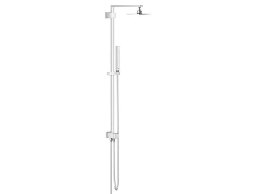 Chrome-plated shower wallbar with overhead shower EUPHORIA CUBE SYSTEM 150 by Grohe