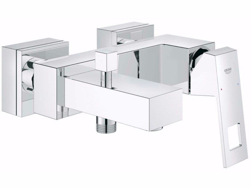 Wall-mounted bathtub mixer with polished finishing EUROCUBE | Bathtub mixer by Grohe