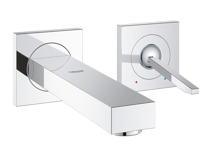 2 hole single handle washbasin mixer with flow limiter EUROCUBE JOY SIZE S | Wall-mounted washbasin mixer by Grohe