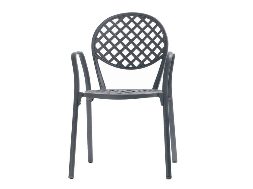 Stackable aluminium garden chair with armrests EUROPA by FAST