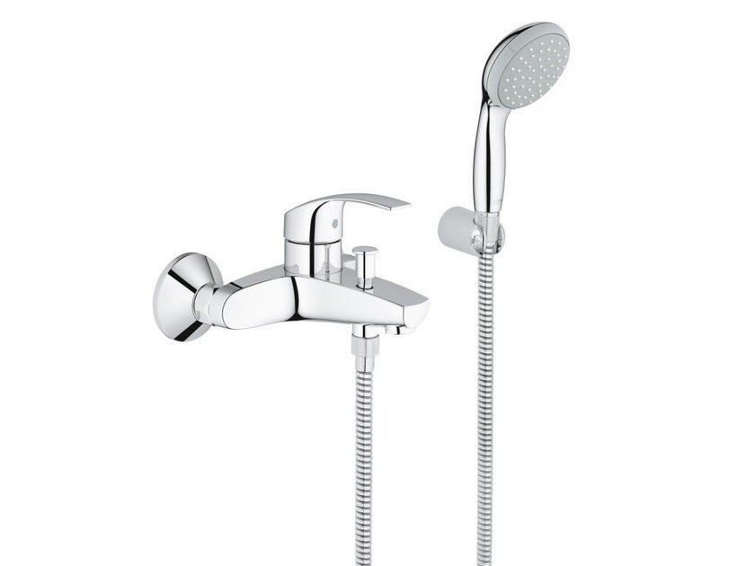 Single handle bathtub/shower mixer with diverter EUROSMART | Bathtub mixer with hand shower by Grohe