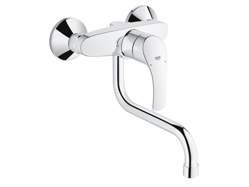 2 hole kitchen mixer tap with swivel spout with temperature limiter EUROSMART | Wall-mounted kitchen mixer tap by Grohe