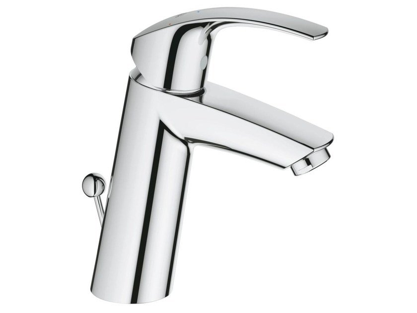 Countertop single handle washbasin mixer with temperature limiter EUROSMART SIZE M | Washbasin mixer with pop up waste by Grohe