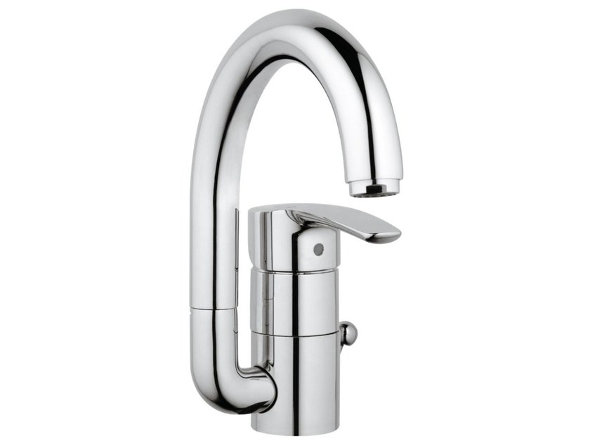 Countertop single handle washbasin mixer with adjustable spout EUROSTYLE SIZE L | Washbasin mixer with pop up waste by Grohe