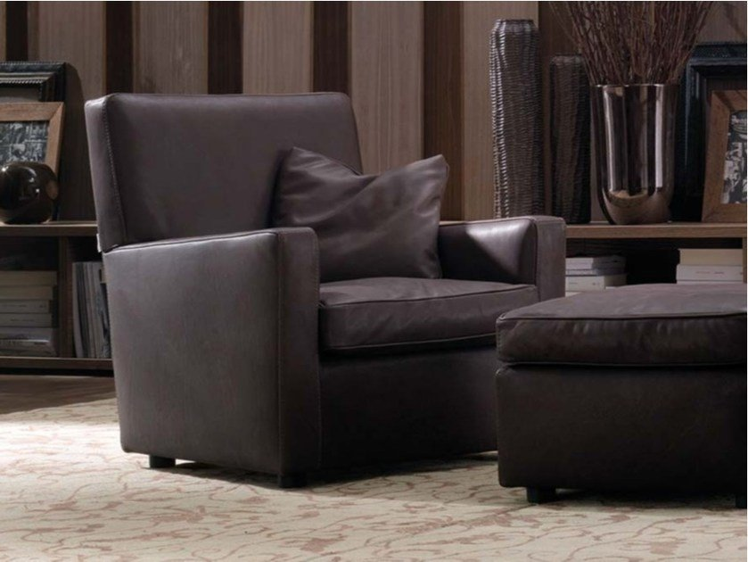 Leather armchair with armrests ESTHER | Leather armchair by Frigerio Salotti
