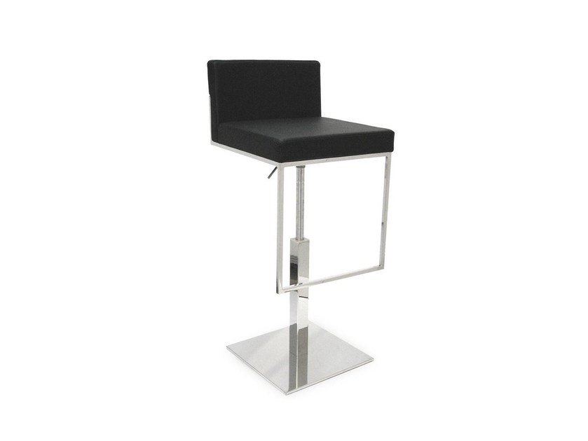 Upholstered height-adjustable leather stool EVEN PLUS | Stool by Calligaris