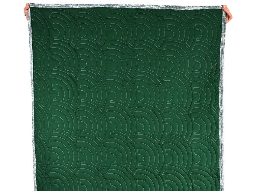 Cotton quilt with graphic pattern EVER GREEN QUILT 001 by KHEM Studios