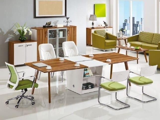 Tavolo da riunione in legno con sistema passacavi EVOLUTIO | Tavolo da riunione con sistema passacavi by Arrediorg.it®