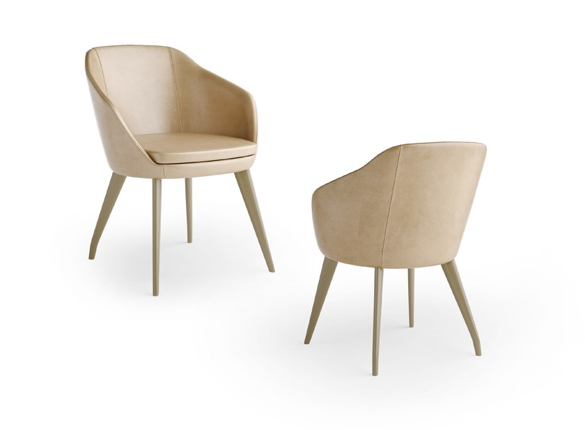 Leather chair with armrests EXAGON | Leather chair by Caroti
