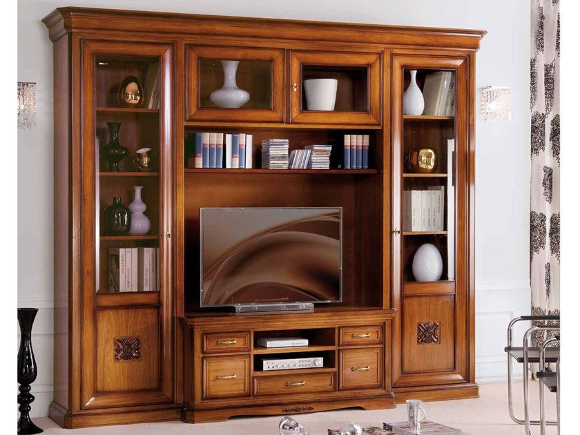 Freestanding TV wall system EXCLUSIVE | Solid wood storage wall by Arvestyle