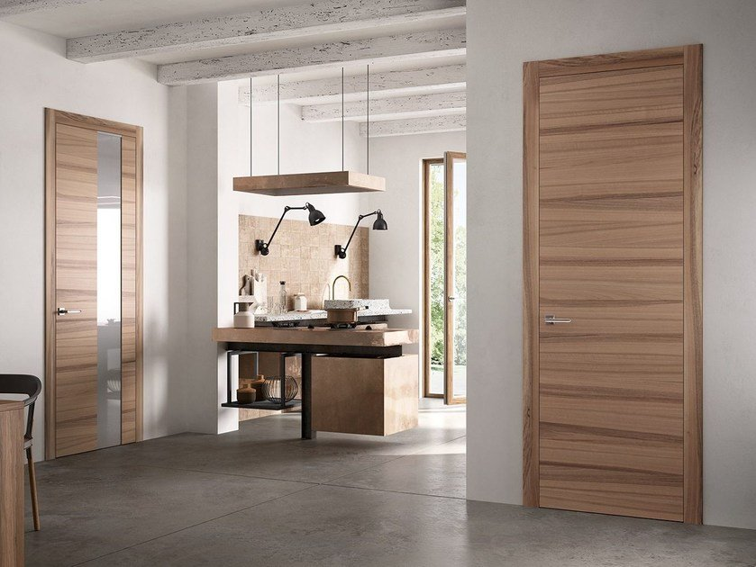 Hinged wooden door EXIT VETRO by FERREROLEGNO