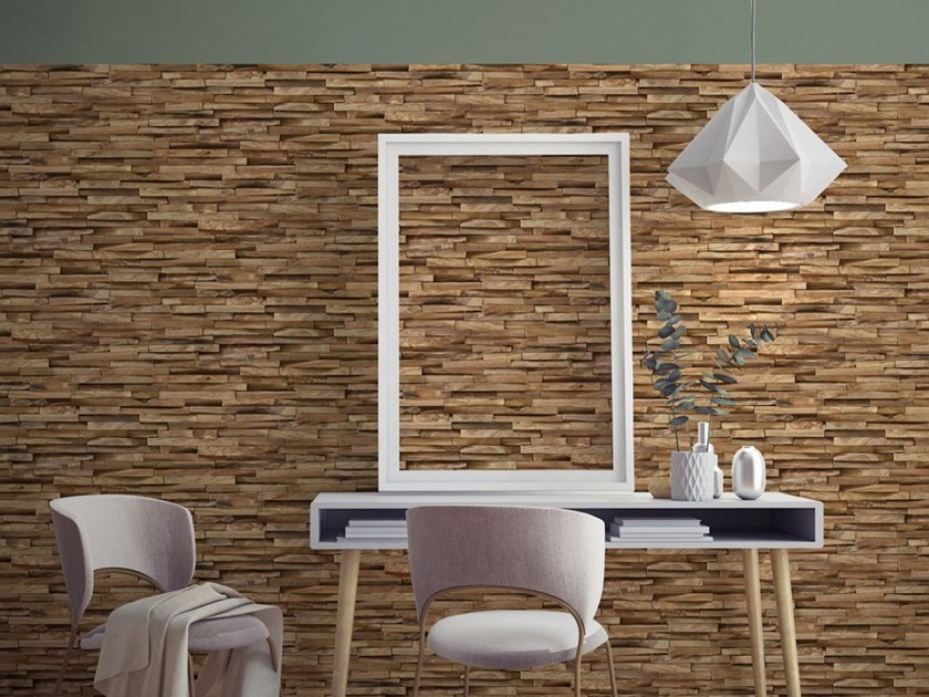 Wood effect wallpaper EXOTIC WOOD CLADDING by Koziel