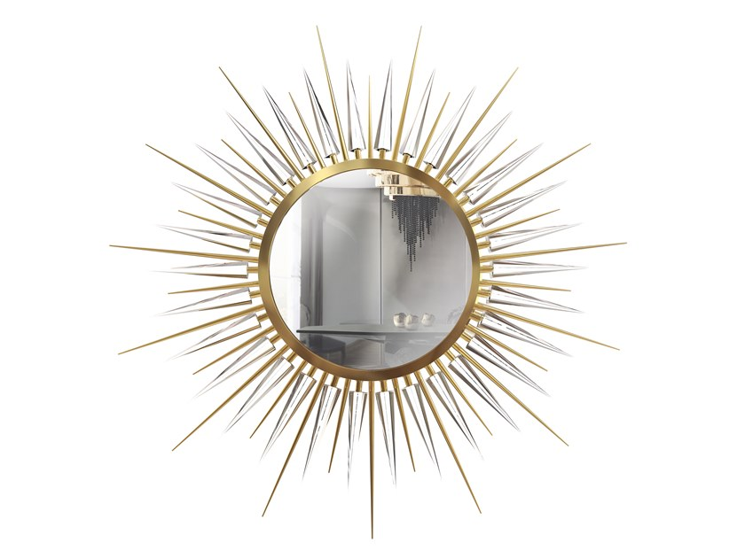 Round framed wall-mounted brass mirror EXPLOSION | Mirror by LUXXU