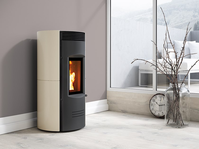 Pellet Class A+ wall-mounted faïence stove EXPO EVO by CAMINETTI MONTEGRAPPA