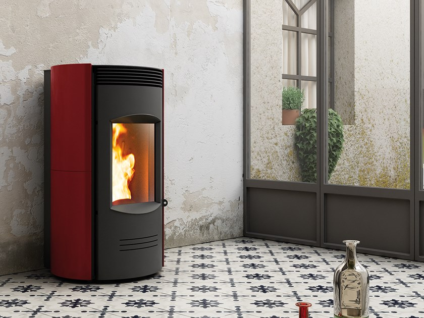 Pellet Class A+ wall-mounted faïence stove EXPO XW | Pellet stove by CAMINETTI MONTEGRAPPA