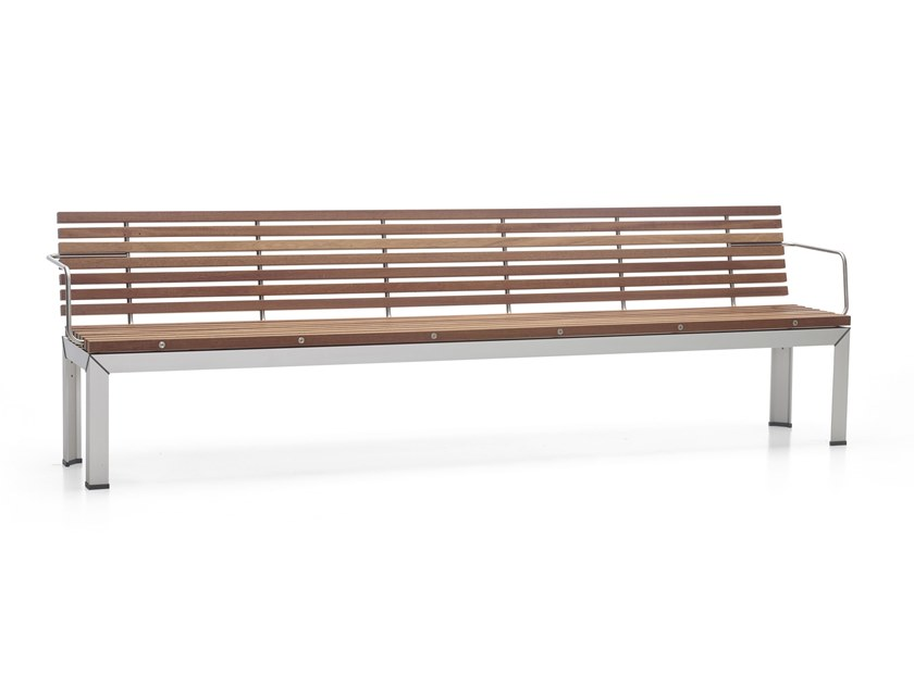 Wooden garden bench with armrests EXTEMPORE | Garden bench with armrests by Extremis