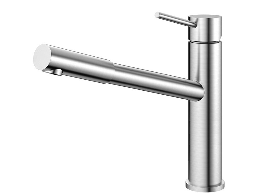 Brushed-finish stainless steel kitchen mixer tap with pull out spray EXTENDED EX-100 by Nivito