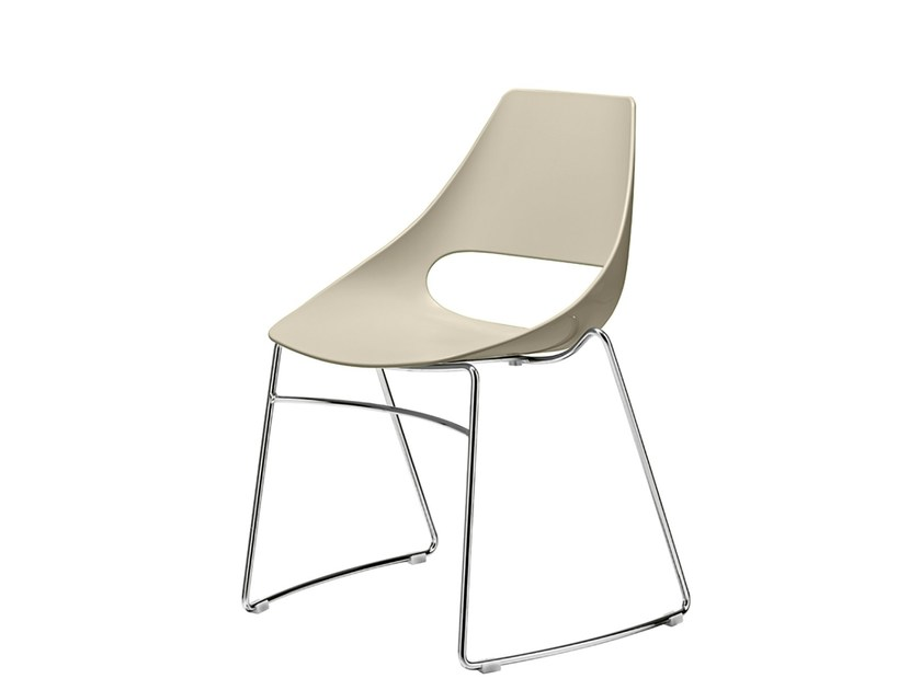 Sled base stackable technopolymer chair Echo 152 by Metalmobil