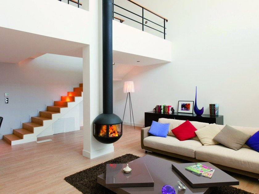 Wall-mounted steel fireplace with panoramic glass EDOFOCUS 631 by Focus creation