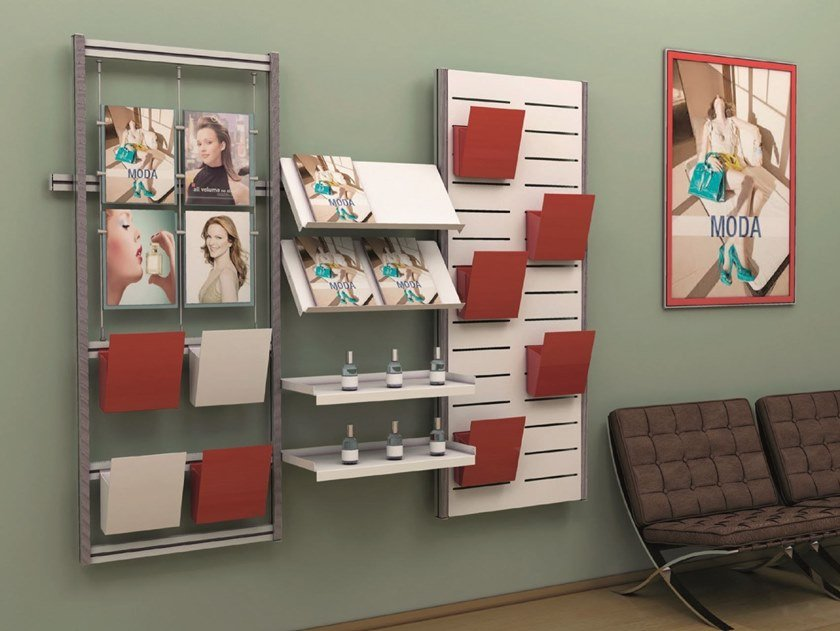 Wall-mounted aluminium retail display unit Display for products and brochures by STUDIO T