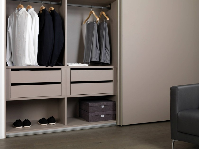 Sectional leather wardrobe with sliding doors F1.80 by Gamadecor