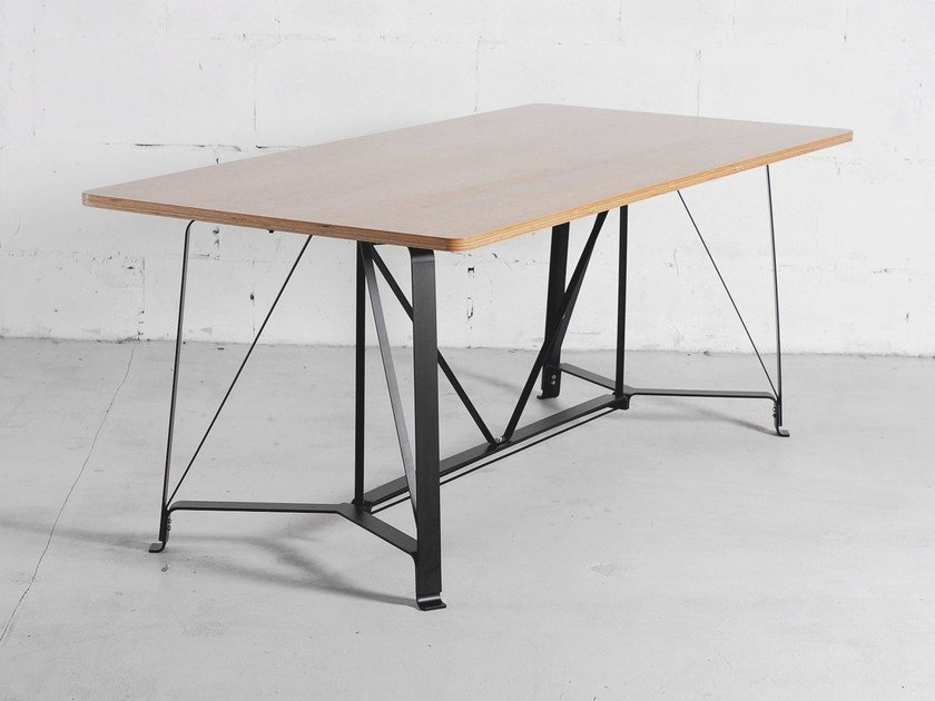 Steel and wood table F1 by ODESD2