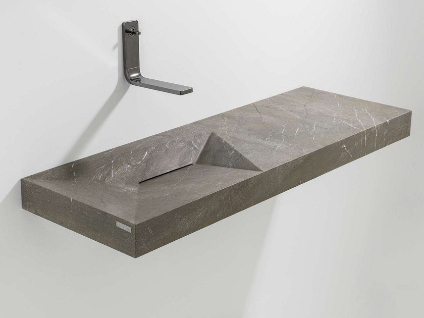 Rectangular wall-mounted natural stone washbasin with integrated countertop FACES | Washbasin with integrated countertop by L'antic Colonial