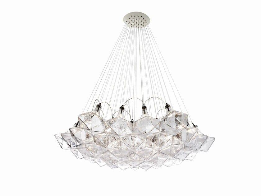 Blown glass pendant lamp FACET by Lasvit