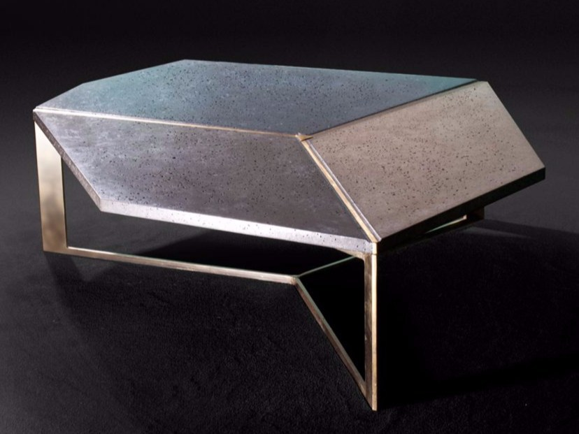 Cement coffee table FACET by MALHERBE EDITION
