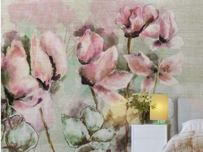 Classic wallpaper, PVC free, eco, washable FADING CYCLAMEN by Wallpepper